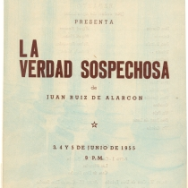 "Poster for the production, ""La verdad sospechosa"""