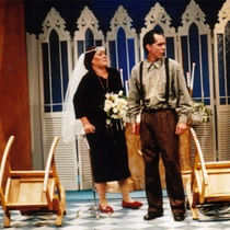 "Photograph of Déxter Cápiro (Vicente) and Anna Silvetti (Laura) in the production, ""El no"""