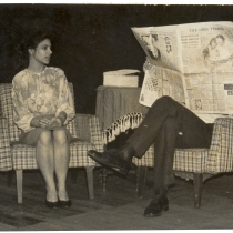 "Scene from the production, ""La cantante calva"""