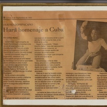 "Newspaper clipping for the production, ""Week-End en Bahía"""