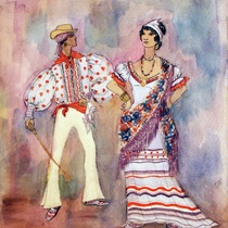 Costume design drawings for the production, Ciclo de música popular