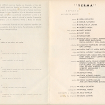 "Program for the production, ""Yerma"""