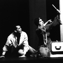 "Photograph of Déxter Cápiro (Orestes Garrigó) and Amarilys Núñez (Clitemnestra) in the production, ""Electra Garrigó"""