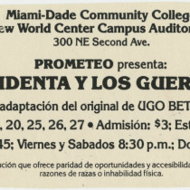 "Promotional materials for the production, ""La presidenta y los guerrilleros"""