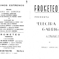 Program for the production, Electra Garrigó
