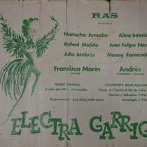 "Poster for the production, ""Electra Garrigó"" (Miami, 1978)"