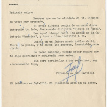 "Letter from Fernando del Castillo to Teresa María Rojas about the production, ""Flores de papel"""