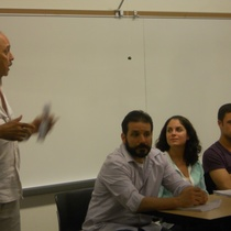 Photographs of staged reading, La ventana de los Chéveres