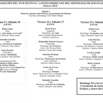 Program for the festival, XVII Festival Latinoamericano del Monólogo