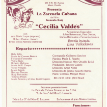 "Playbill for the production, ""Cecilia Valdés"""