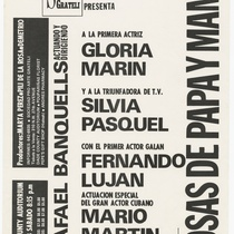 "Playbill for the production, ""Cosas de papá y mamá"""