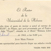 "Invitation for the production, ""Los gemelos"""