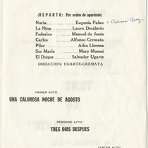 "Playbill for the production, ""Melocotón en almibar"""