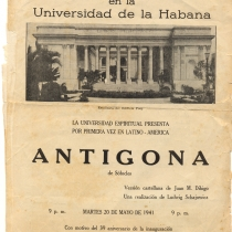 Program for the theatrical production, Antígona (La Habana, 1941)