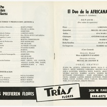 "Program for the production, ""El dúo de la africana"" (The African duo)"
