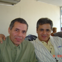 Photograph of Reinaldo Montero and Senel Paz at UNEAC, Havana