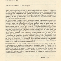 "Program for the production, ""Electra Garrigó"" (Havana, 1986)"
