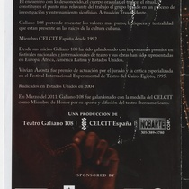 Program for the theatrical production, Elektra: la danza de los muertos