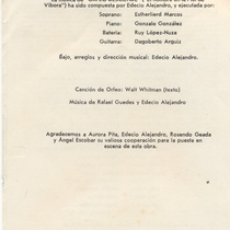 "Program for the production, ""Orfeo desciende"""