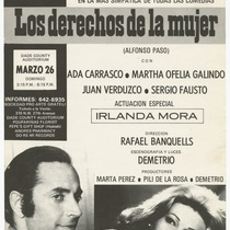 "Playbill for the production, ""Los derechos de la mujer"" (Women's rights)"