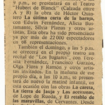 "Review for the production, ""La última carta de la baraja"""