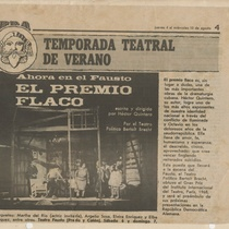 Clipping of the production, El premio flaco