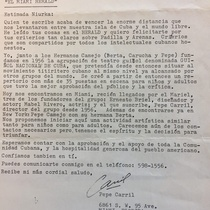 Letter from Pepe Carril to Norma Niurka