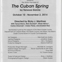 "Program for the production, ""The Cuban Spring"""