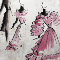 Costume design drawing for the theatrical production, La Cucarachita Martina y el Ratoncito Pérez