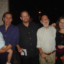 Photograph of Reinaldo Montero, Alberto Sarraín, Abelardo Estorino, and Olga Lastra at Fundación Ludwig, Havana 2004