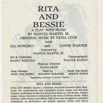 Program for the theatrical production, Rita and Bessie