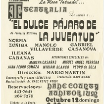 "Playbill for the production, ""El dulce pájaro de la juventud"""