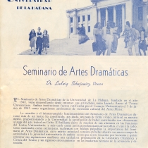"Pamphlet for the ""Seminario de Artes Dramáticas"" at the Universidad de La Habana"