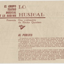 "Program for the production, ""Lo musical"" (Teatro Musical de La Habana)"
