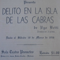 "Promotional material for the production, ""Delito en la isla de las cabras"" (Havana, 1956)"