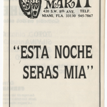 "Playbill for the production, ""Esta noche serás mía"""