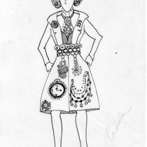 Costume design for Platero in the theatrical production, El millionario y la maleta