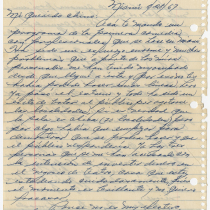 Letter from Cecilio (Noble) to Chino (Herberto Dumé)