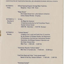 "Program for the event, ""Hispanic Heritage Week, 1979"""