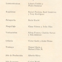 Program for the theatrical production, Días y flores