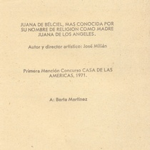 "Program for the production, ""Juana de Berciel"""