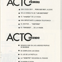 "Program for the production, ""La viuda tiene un complejo"""