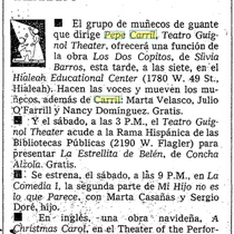 Flyer of Productions Playing in Miami in 1981