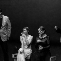 Photographs of a rehearsal for the theatrical production, El día que me quieras