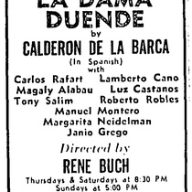 Advertising for the theatrical production, La dama duende