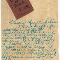"Thank-you card for the production, ""Diary of Anne Frank"""