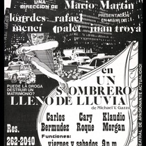 "Poster for the production, ""Un sombrero lleno de lluvia"""