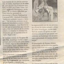 "Press review for the production, ""Un poco de aire frío"""