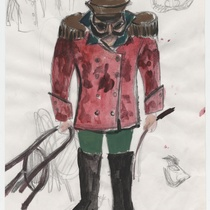"Costume sketch for the character ""Padre"" (father) for the production, ""Los fantasmas de Tulemón"""