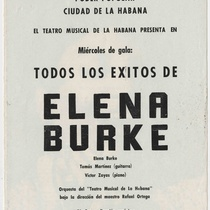 "Program for the production, ""Todos los éxitos de Elena Burke (Teatro Musical de La Habana)"